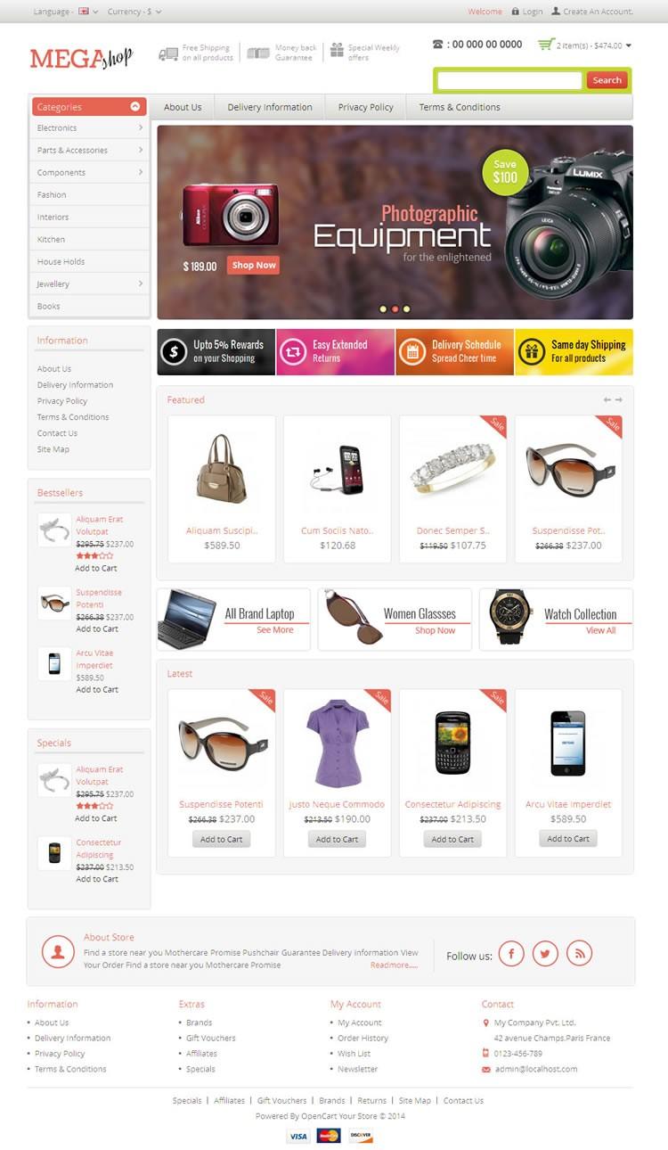 Mega Shop Responsive Opencart Template Templatemela
