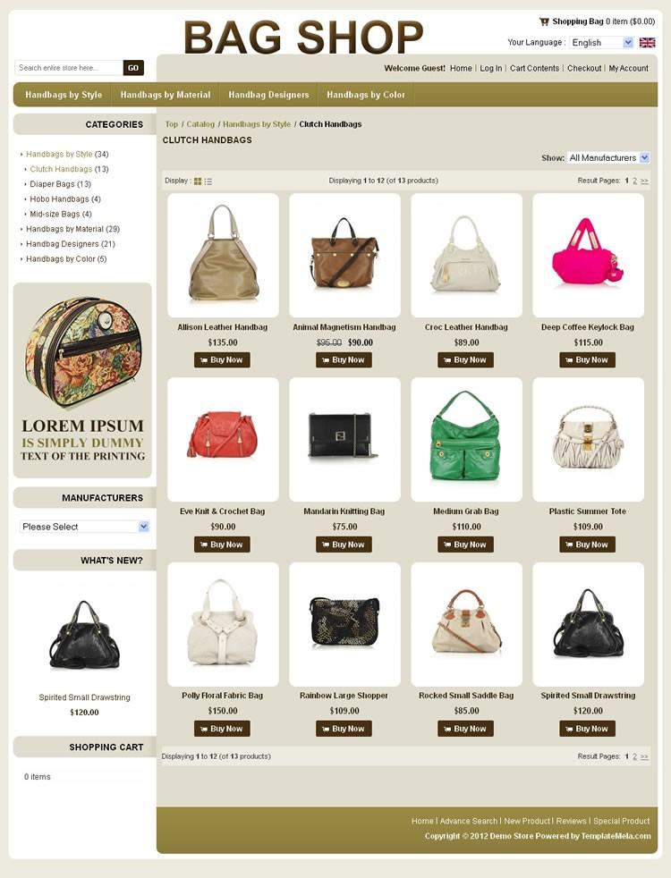 Bag Oscommerce Template Prev