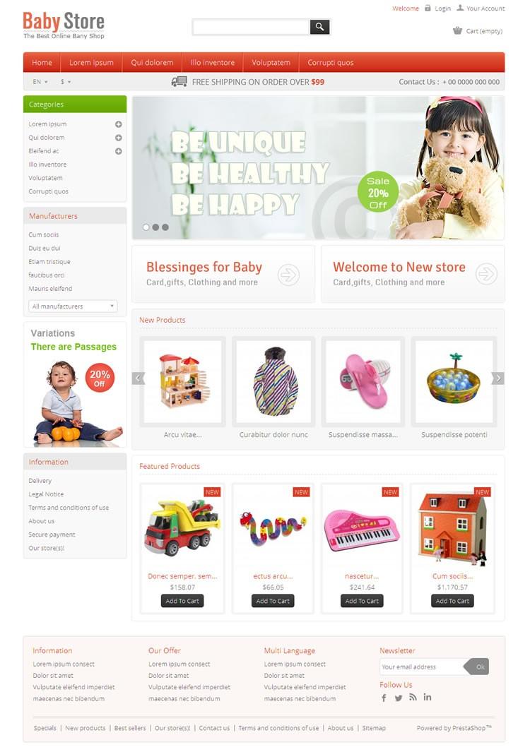 239dbe2b5 Baby Store Prestashop Theme | TemplateMela