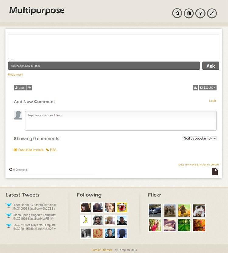 MultiPurpose Tumblr Theme | TemplateMela