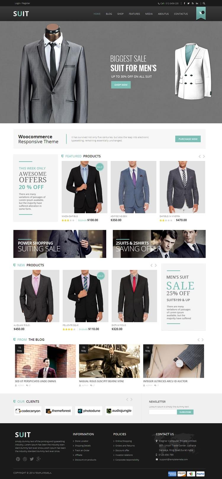 suit woocommerce responsive theme