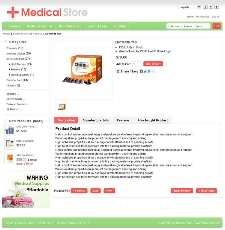Medical Zen Cart Template | TemplateMela
