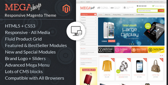 megashop - Auto Parts - Tools Magento Theme